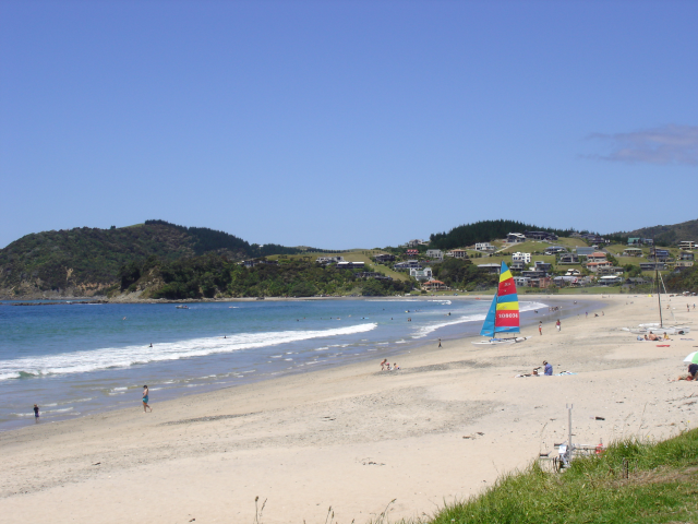 White sandy and sunny Beach, Best beach in Northland, New Zealand, Langs Beach, Waipu